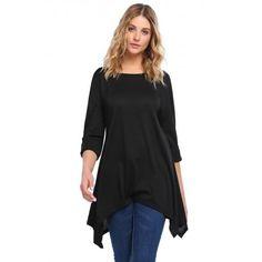 Long Sleeve Solid Asymmetric Tunic T-Shirt