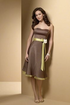 Brown Strapless Ribbon A-line Satin Junior Bridesmaid Dress Mint Green Bridesmaid Dresses, Knee Length Bridesmaid Dresses, Prom Dresses, Wedding Dresses, Wedding Attire, Bridesmaid Ideas, Bridesmaid Gowns, Dress Prom, Alfred Angelo Bridesmaid
