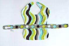 Polka Dot Less Mess Apron Bib  aqua / lime / brown by EagerBaby