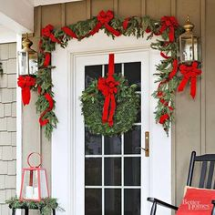 36 Pretty Front Door Decorations for Christmas