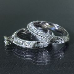 14k White Gold Natural VS-1 Diamond 2 piece Engagement Modern ring 1.02ctw VIDEO by crystalanchor on Etsy