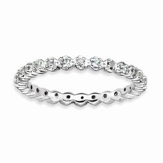 18K Gold Plated Sterling Silver Eternity Diamond Band