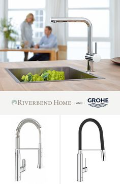 Grohe is all about innovative water solutions. They create high quality products for the kitchen and bath that have incredible style. Riverbend Home is proud to present you with a great selection of their best products. Kitchen Faucets, Kitchen And Bath, Water Solutions, Home Reno, Home Kitchens, Home Improvement, The Incredibles, Create, Ideas
