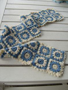 French Blue & WHite Granny Scarf * So Pretty :)