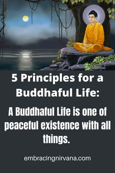 5 Principles for a Buddhaful Life: A Buddhaful Life is one of peaceful existence with all things. We have learned to let go of our past, and are mindful of the present moment. We spend our lives with positive thoughts being helpful to others, and having compassion for the suffering of all. Find your path to a Buddhaful Life at Embacing Nirvana. #buddha #buddhaful #embracingnirvana RGRamsey