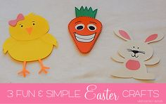3 Easter Crafts complete with directions and templates...All in one pack....Chick, Bunny, Carrot