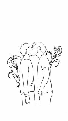 Couple Drawings, Love Drawings, Easy Drawings, Drawing Sketches, Tumblr Gay, Kissing Drawing, Gay Tattoo, Tattoos, Cute Gay Couples