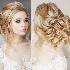 Bridal Hairstyles : Long Wedding Hairstyles & Bridal Updos via Elstile / www. Wedding Hairstyles For Long Hair, Elegant Hairstyles, Wedding Hair And Makeup, Bride Hairstyles, Bridal Makeup, Hair Makeup, Hairstyle Ideas, Photomontage, Future Mrs