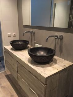 Rustic Bathroom Vanities, White Bathroom, Timber Vanity, Modern Bathroom Design, Bath And Beyond, Bathroom Inspiration, Organization Hacks, Powder Room, Double Vanity