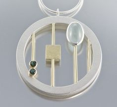 Janis Kerman - Necklace (sterling silver, 18ct yellow gold, aquamarine, tourmaline)