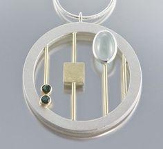 Janis Kerman - Necklace (sterling silver, 18ct yellow gold, aquamarine, tourmaline)
