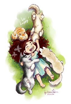 #графика #цвет #планшет #дети #девочка #ребенок #собаки #пес #кот #кошка #кудри #трава #настроение #дружба #друзья #открытка #хаски #платье #лето #graphics #color #tablet #kids #girl #baby #dogs #dog #cat #curls #grass #mood #friendship #friends #card #husky #dress #summer