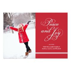 Holiday Photo Card   Peace And Joy In Red & White Card