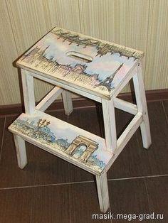 """Табуретка ступенька """" Городские туманы"""" - Авторская работа, стулья и табуреты ручной работы. МегаГрад - online выставка-продажа авторской ручной работы"""