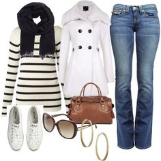 So cute! Except the coat should be cream, not white (so it'll match the sweater).