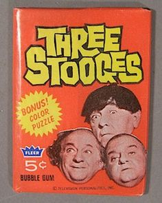 Three Stooges RARE Original Three Stooges Bubble Gum box and Unopened pack