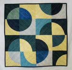 Modern Art Quilt Blue Yellow Blue Moon Handmade by atthebrightspot, $260.00