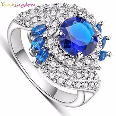 Yunkingdom 2016 NEW Women's Rings White Gold Filled Dark Blue CZ Diamond Jewelry Wedding Engagement Ring  ALP0281