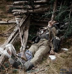 Spotsylvania Court House. Body of a Confederate soldier near Mrs. Alsop's house. (colorized).