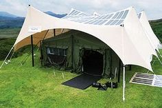 Solar powered tent cover: heavy duty shade is covered with flexible photovoltaic cells that generate 800 watts of electricity on a roughly 16-by-20-foot surface. These designs are primarily being developed by the military to avoid emissions, save money, and most importantly save lives by reducing the need to transport fuels.