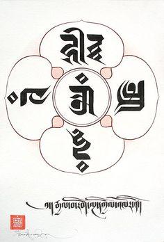 Tashi Mannox 2009,The Five Buddha Family Mandala. The Five Buddha families also known as the Five Dhyani Buddhas, represented here in Sanskrit placed in their assigned cardinal directions:1. Om, center, Virochana Buddha.2. Hum, East, Akshobya Buddha.3.Tram, south, Ratnasambhava Buddha.4. Hri, West, Amitabha Buddha.5. Ah, North, Amoghasiddhi Buddha.#TibetanArt: