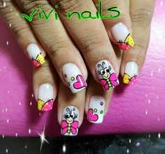 Uñas Ruby Nails, Gel Nails, Short Nail Designs, Nail Art Designs, Spring Nail Art, Spring Nails, Long Square Nails, Luminous Nails, Nails For Kids