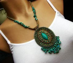 turquoise bead embroidery | Bead embroidered necklace - turquoise, gold, patina ... | Beaded Won ...
