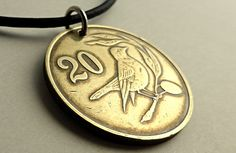 Coin necklace Cyprus Leather necklace Bird necklace by CoinStories