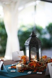 A more rustic centerpiece option using my colors of teal, orange and yellow. Perfect for fall.