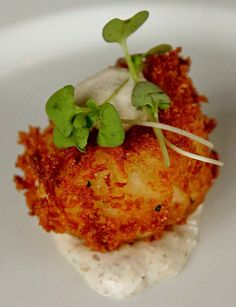 Recipe | Mini Crab Cake Bites with Tartar Sauce and Microgreens ... #holiday #party #appetizer