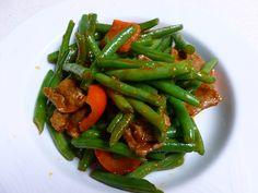 stir fried pork with thai chilli paste.