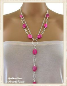 Here's a gemstone necklace that is vibrant in color and makes accessorizing easy!  Handcrafted using beautiful fuchsia crazy lace agate oval...