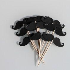 10 décorations moustaches pour petits gateaux (cupcakes toppers ) pour mariage ou anniversaire