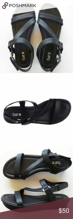 "Bar III Addison Sandals New without tags. 1.25"" wedge. Velcro closure. All synthetic. Bar III Shoes Sandals"