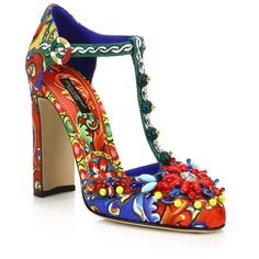 Dolce & Gabbana Embellished Brocade T-Strap Pumps ($575) ❤ liked on Polyvore featuring shoes, pumps, heels, apparel & accessories, multi, embellished pumps, jeweled pumps, dolce gabbana shoes, ankle tie shoes and embellished shoes