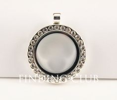 Silver Round Floating Locket Living locket Glass by FindingClub