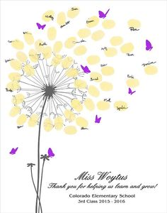 This classroom fingerprint dandelion design is a perfect gift to give to a very special teacher. Each child in the class stamps their finger print and their name is written around the leaf. Personalized Thumbprint Dandelion For the Teacher - fingerprint teachers appreciation gift that celebrates your childs teacher and thanks them for the great year.  DIGITAL PRINTABLE JPEG ONLY. NO PHYSICAL ITEM WILL BE SHIPPED  -------------------------------------------------  NOTE TO BUYERS : I accept…