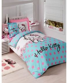 Are you a Hello Kitty fan? If so, you'll love these adorable Hello Kitty bedroom decoration! 25 cute bedroom designs for Hello Kitty fanatics. Hello Kitty Bedroom Set, Hello Kitty Rooms, Cat Bedroom, Small Room Design, Kids Room Design, Bedroom Themes, Bedroom Decor, Bedroom Ideas, Bedroom Curtains
