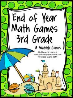 Fun Games 4 Learning: Summer Math Games Freebies and End of Year Freebies Teaching Skills, Teaching Math, Teaching Ideas, Math Resources, Math Activities, Third Grade Math Games, Eureka Math, Math Workshop, Guided Math