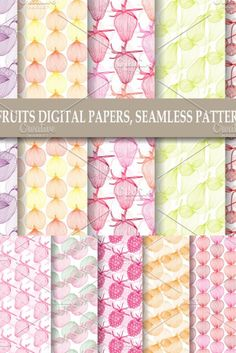 14 fruits seamless patterns, digital papers - with strawberry, cherry, raspberry, plum, pear, apple, quince The digital papers are perfect for food, fruit, kitchen themes, planners, digital background, fabric printing, scrapbooking, small business branding, web design, invitations, cards, gift wrapping