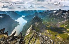 View of the Hjørundfjorden from the top of Slogen mountain in Sunnmørsalpene range, in the municipality of Ørsta in Møre og Tomsdal county in Norway.