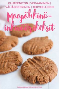 Vegan and peanut butter ginger cookies are made with only 4 ingredients. These cookies are pure genius! Plus they are gluten-free and refined sugar-free. Healthy Peanut Butter Cookies, Gluten Free Peanut Butter, Healthy Cookie Recipes, Fudge Recipes, Healthy Baking, Cookies Vegan, Baking Recipes, Healthy Snacks, Vegetarian Recipes