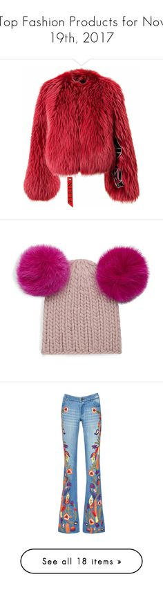 """Top Fashion Products for Nov 19th, 2017"" by polyvore ❤ liked on Polyvore featuring outerwear, jackets, red jacket, fur jacket, red fur jacket, accessories, hats, pom pom beanie, beanie cap hat and beanie hat"