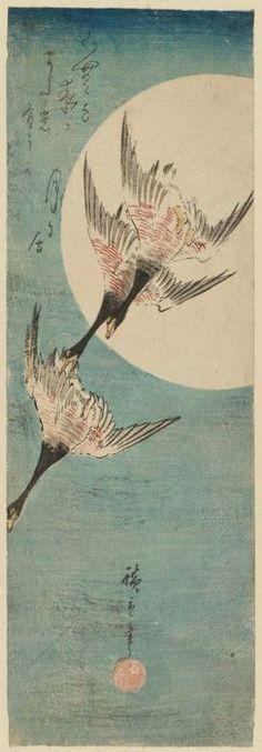 Geese Flying across Full Moon  Japanese  Utagawa Hiroshige I