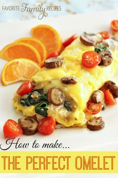 Veggie Omelets (with tips on how to make the perfect omelet) This is the best method I have found!   Find all our yummy pins at https://www.pinterest.com/favfamilyrecipz/