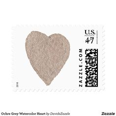 Ochre Grey Watercolor Heart Stamp  Available in three sizes and three rates!  #stamp #postage #post #mail #letter #united #states #postal #service #friend #family #mailing #send #sent #service #greeting #card #heart #love #emotion #relationship #feeling #friendship #friend #family #meaning #meaningful #water #color #watercolor #cute #pretty
