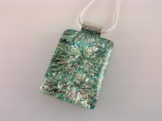 Dichroic Glass Pendant, Fused Glass Jewelry, Turquoise Silver Starburst Necklace on Etsy, $25.00