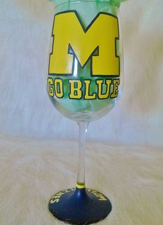 University of Michigan Wine Glass