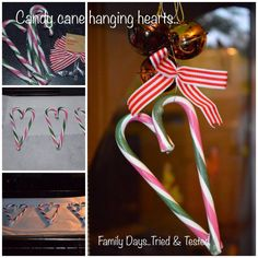 CANDY CANE HANGING TREE HEARTS  We put two candy canes on top of each other to form and heart and then popped in the oven at 180c for around 4/5 minutes, just long enough for them to soften and weld together. We then tied with ribbon to hang, this could be made with mini candy canes for a really cute effect.