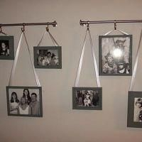 Hanging Pictures with Ribbon {Photo Wall} Hanging Pictures On The Wall, Photo Wall Hanging, Hanging Picture Frames, Hanging Photos, Picture Wall, Hang Pictures, Display Pictures, Hanging Art, Curtain Rods